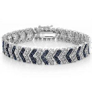 Genuine 1.20ctw Chevron Black Diamond Bracelet
